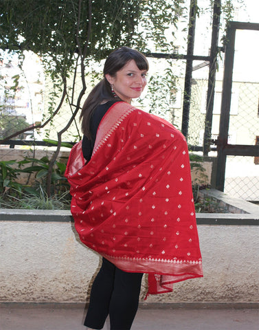 Rich Red  Banarasi Dupion Dupatta with small buttis
