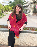 Red Kutch Silk Stole with small buttis