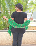 Green  Kutch Silk Stole with small buttis