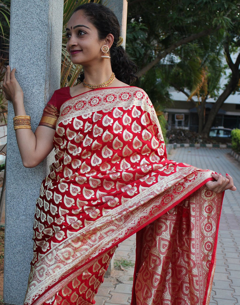 Red Pure Banaras silk saree