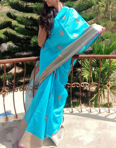 Sky Blue  Banaras silk cotton saree