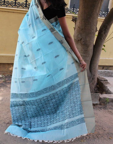 Sky Blue Narayanpet Silk Cotton