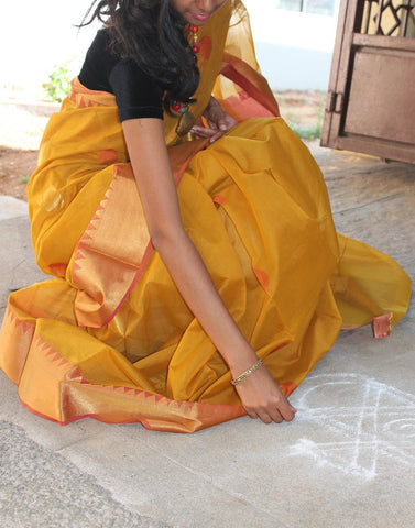 Mango Coloured Narayanpet Silk
