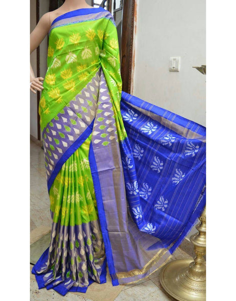 Parrot Green Pure Ikkat Silk Saree