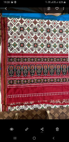 Maroon Pure Ikkat Silk Saree