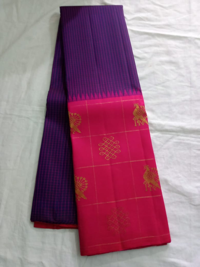 Dark blue Kanjeevaram Silk Saree