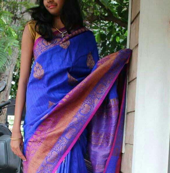 Rich Blue Banaras Dupion Silk Saree