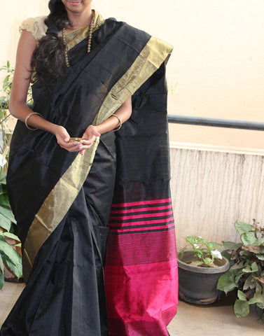 Rich Black Raw Silk