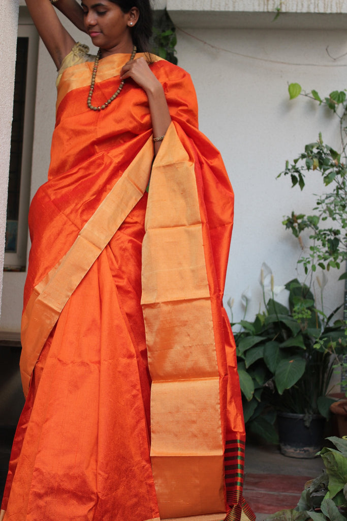 Orange Raw Silk