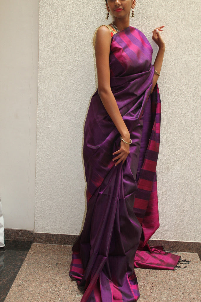 Purple Bendex Silk Saree