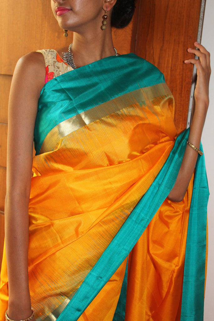 Yellow Bendex Silk Saree