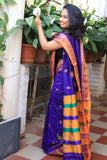 Deep Blue Kasauti Handloom Silk Cotton Saree