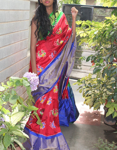 Red Pure Ikkat Silk Saree