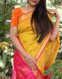 Mustard Yellow Kanchi Silk Cotton Saree