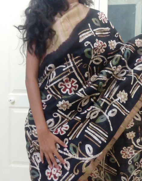 Brown Handpainted Bishnupuri Silk Saree