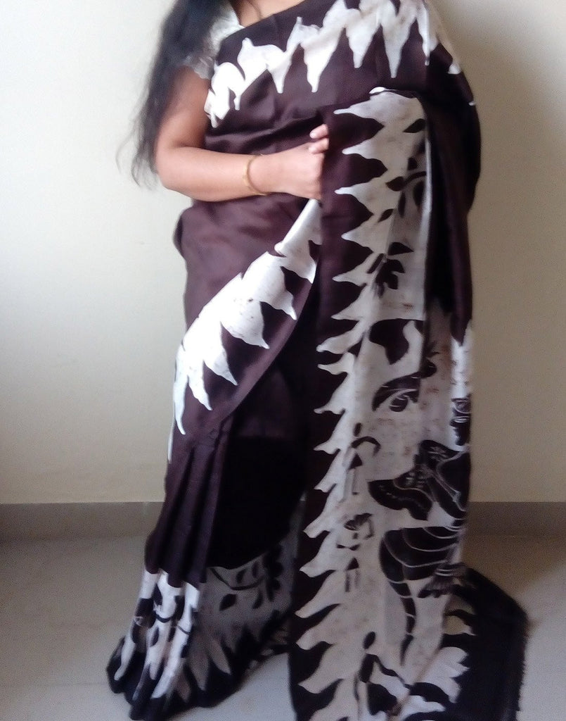 Coffee Handpainted Bishnupuri Silk Saree