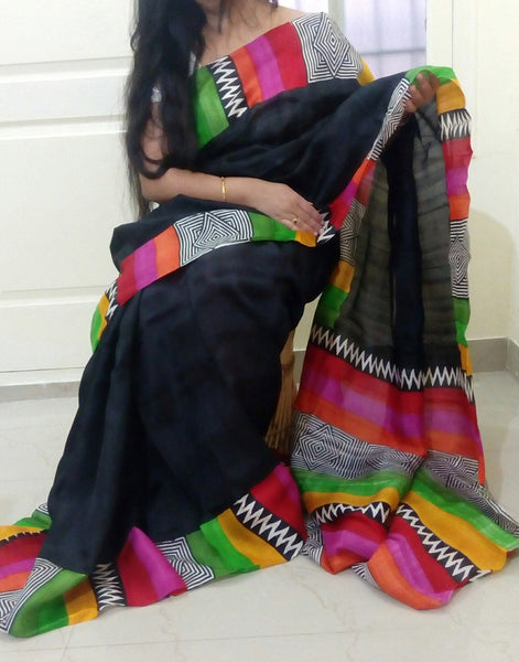 Geometric Art Handpainted Bishnupuri Silk Saree