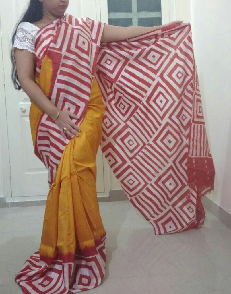 Mustred Handpainted Bishnupuri Silk Saree