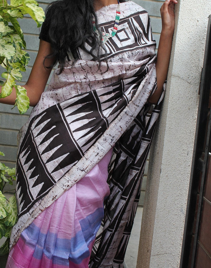 Batic Prints Handpainted Bishnupuri Silk Saree