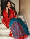 Beautiful Red Bengal Ahinsa Silk Saree