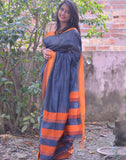 Grey And Orange Cotton Silk Saree