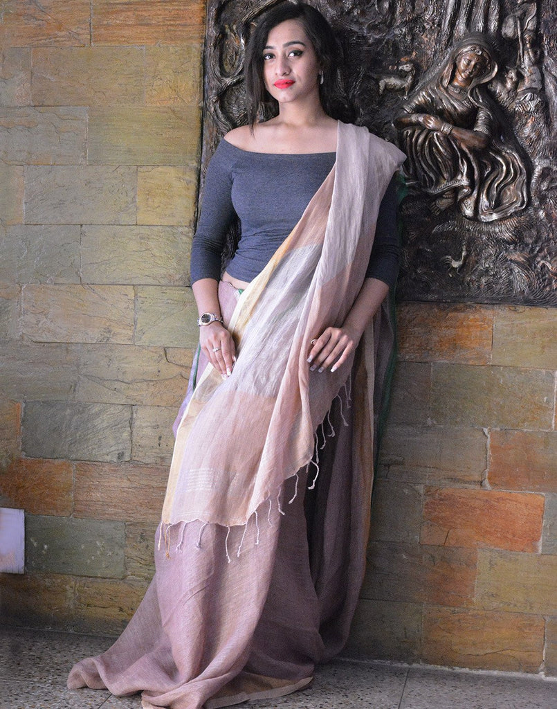 Coral Pure Linen Saree