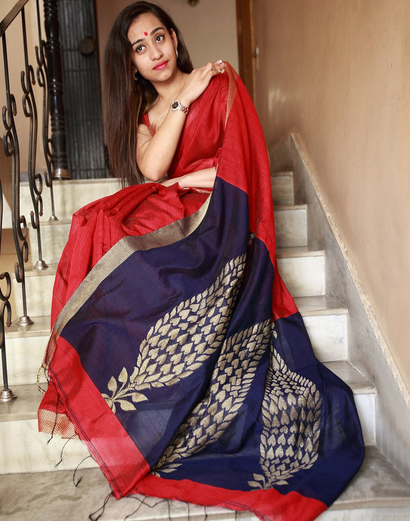 Striking Red Bengal Handloom Silk Saree