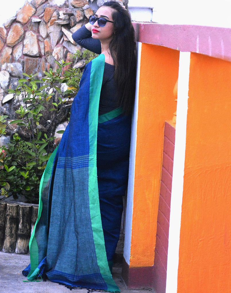 Royal Blue Pure Linen Saree