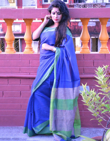 Striking Blue And Green Muslin Saree