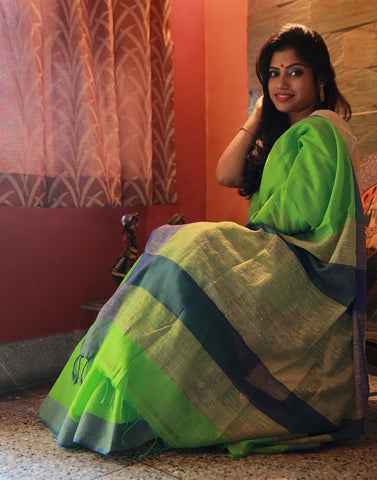 Parrot Green Muslin Saree