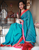 Royal Alluring Peacock Blue Pure Linen Saree