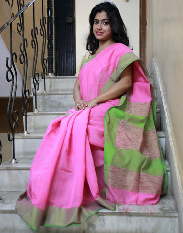 Summery Pink Muslin Cotton Saree