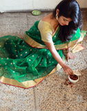 Green Bangladeshi Muslin Silk Saree