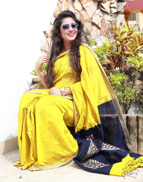 Enchanting Mustard Yellow Cotton Silk Saree