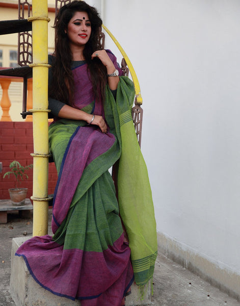 Pista Green Pure Linen Saree