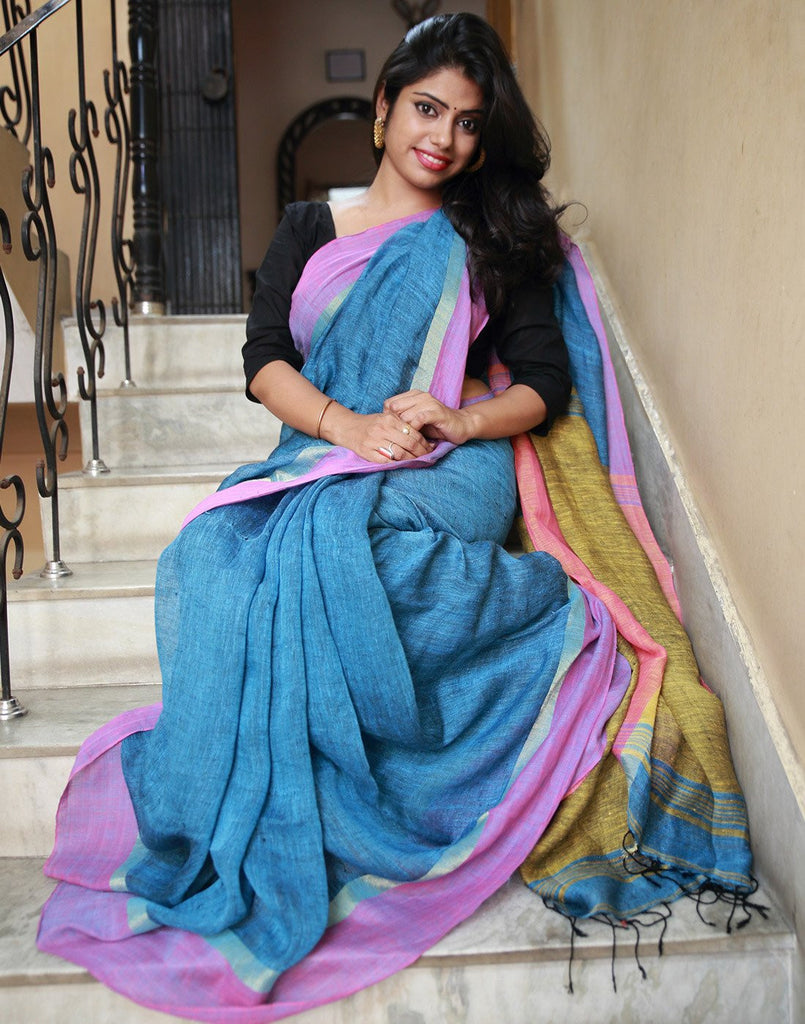 Blue Pure Linen Saree