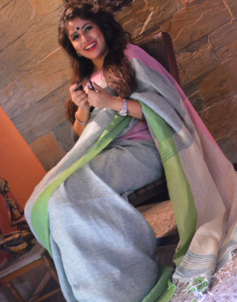 Ice Blue Pure Linen Saree