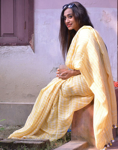 White And Yellow Checkered Linen Saree