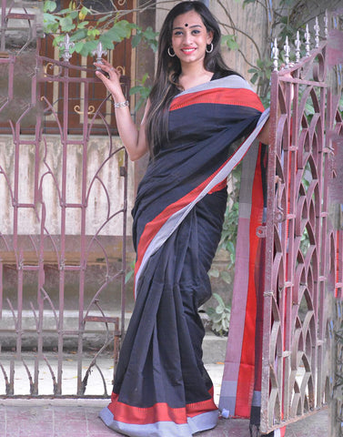 Black Khadi Cotton Handloom Saree