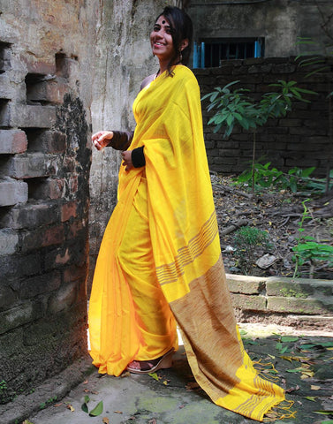 Yellow Tribal Weaved  Jute Cotton Saree