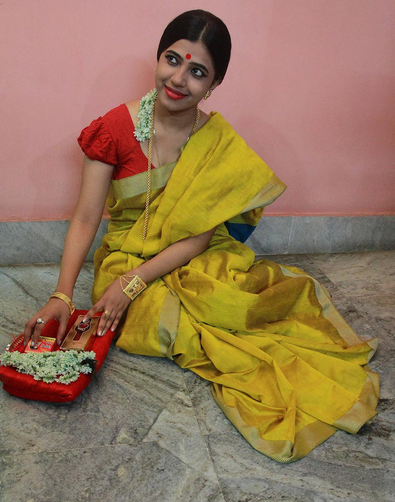 Mustard Yellow Ahinsa Silk Cotton Handloom Saree