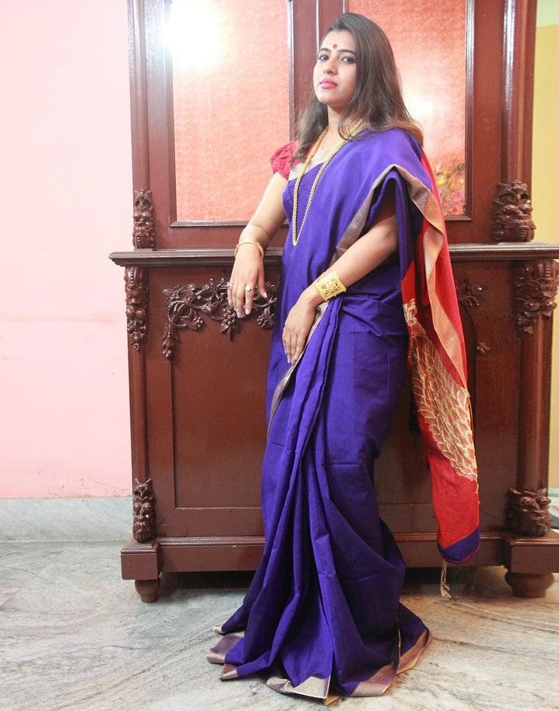 Blue Silk Cotton Handloom Saree