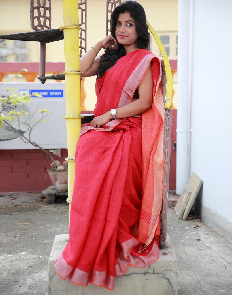 Coral Red Pure Linen Handloom Saree