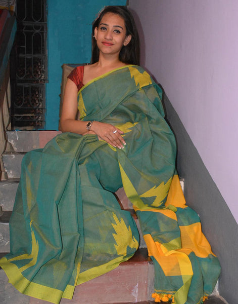 Green Muslin Cotton Saree