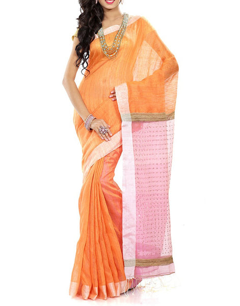 Peach Tussar Silk Saree