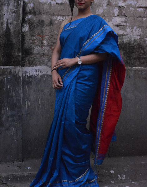 Royal Blue Bengal Cotton Silk
