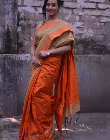 Tussar And Orange Bengal Cotton Silk