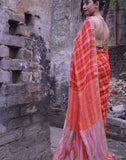 Red Pink And Yellow Checkered Linen Saree