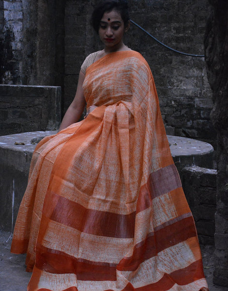 Orange Linen Handloom Saree