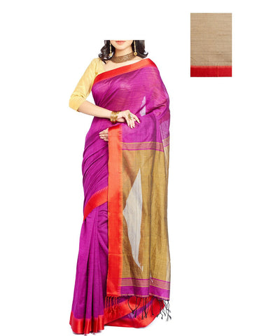 Wine Coloured Kolkota Handloom Saree